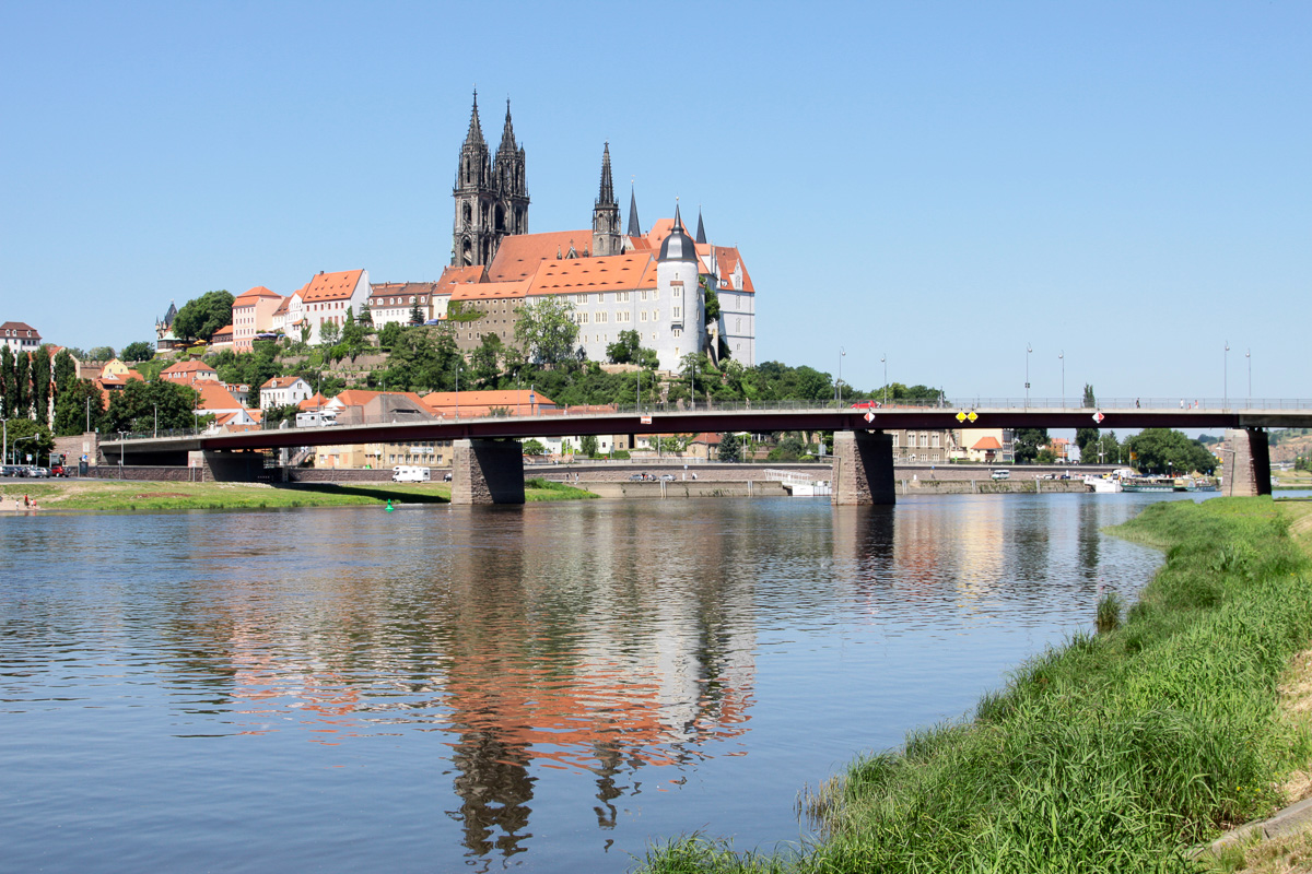 Meißen - Albrechtsburg mit Elbe